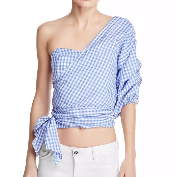 094db002bd3d8 MLM blue and white one shoulder wrap blouse small